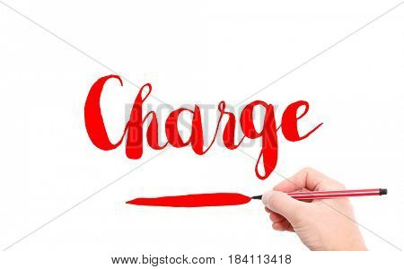 The word of Charge written by hand on a white background