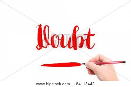 The word of Doubt written by hand on a white background