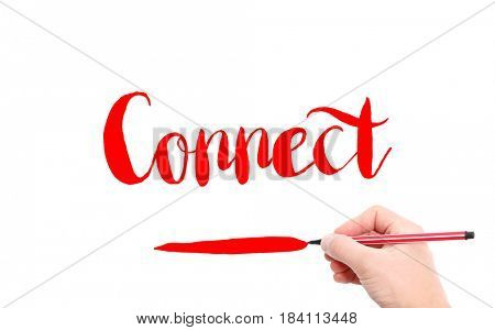 The word of Connect written by hand on a white background