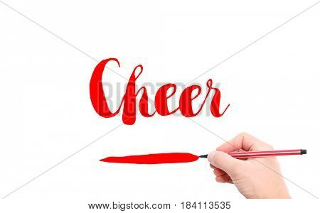 The word of Cheer written by hand on a white background