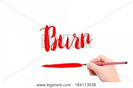 The word of Burn written by hand on a white background