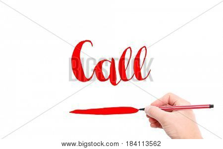 The word of Call written by hand on a white background