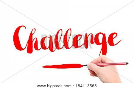 The word of Challenge written by hand on a white background