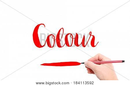 The word of Colour written by hand on a white background