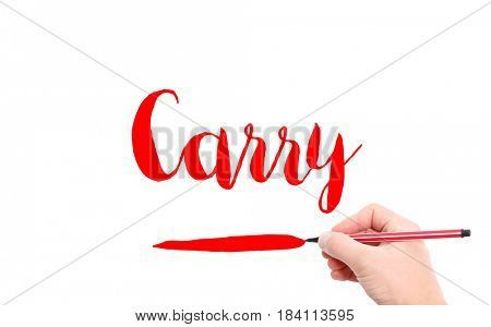The word of Carry written by hand on a white background