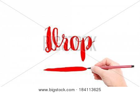 The word of Drop written by hand on a white background