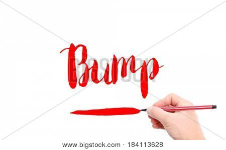 The word of Bump written by hand on a white background