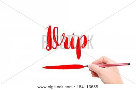 The word of Drip written by hand on a white background