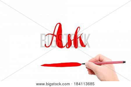 The word of Ask written by hand on a white background
