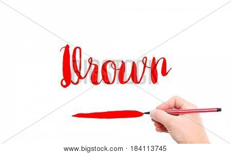 The word of Drown written by hand on a white background