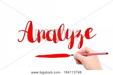 The word of Analyze written by hand on a white background