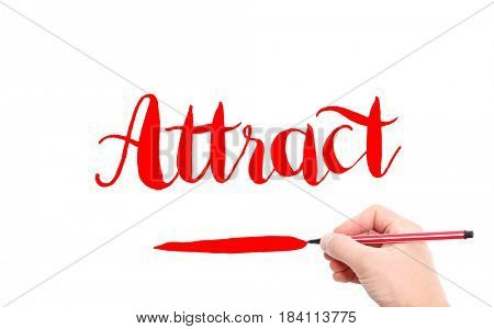 The word of Attract written by hand on a white background