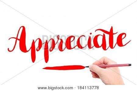 The word of Appreciate written by hand on a white background