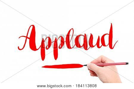 The word of Applaud written by hand on a white background