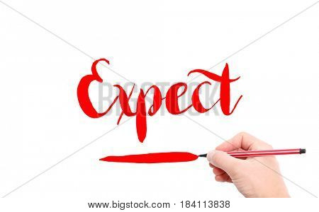 The word of Expect written by hand on a white background