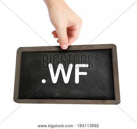 The .wf domain name on a keyboard key