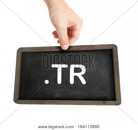 The .tr domain name on a keyboard key