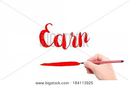 The word of Earn written by hand on a white background