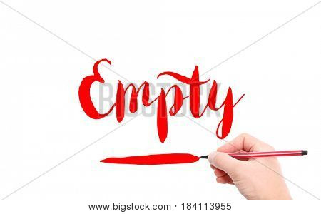 The word of Empty written by hand on a white background