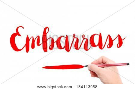 The word of Embarrass written by hand on a white background