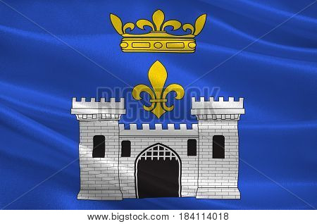 Flag of Angouleme is a French commune the capital of the Charente department in the Nouvelle-Aquitaine region of southwestern France. 3D illustration