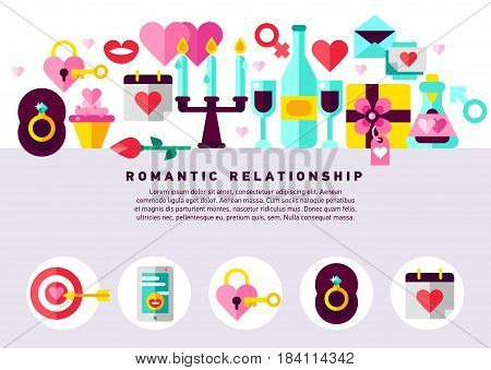 Flat vector illustration concept of romantic relationship, love, Valentine s day, dating, romance and more, thin line icons set. Design banners for website. Romantic stuff