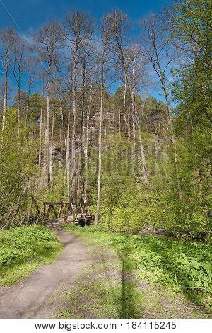 path leading to wooden footbridge over Robecsky potok creek in Peklo Valley in spring Machuv kraj region