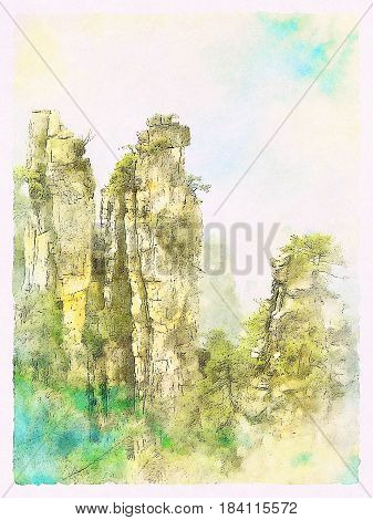 Watercolor Landscape of natural quartz sandstone pillars of the Tianzi Mountains (Avatar Mountains) in the Zhangjiajie National Forest Park Hunan Province China.