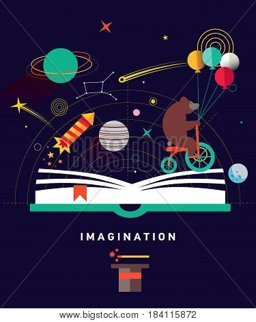 Imagination concept with opened book and planets, stars, space, magic hat, slapstick, bear on bike with balloons. Fairy, magical adventure book for kids.