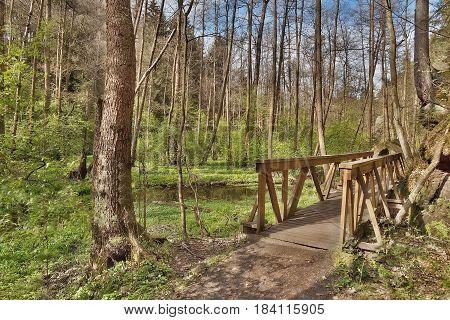 new wooden footbridge in spring Peklo valley in czech tourist area Machuv kraj