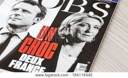 France - April 292017: Covers of the French magazine L'OBS featuring the two presidential candidates which won the first round of the French elections 2017. The main focus is on Le Pen's picture.