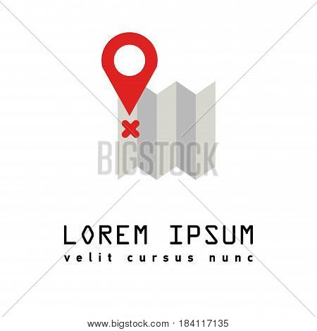 Map marker pointer with road map vector icon design. Modern plan pin pointer roadmap. Location pin illustration with soft shadow on gray background brilliance. Outline style. GPS navigation systems.