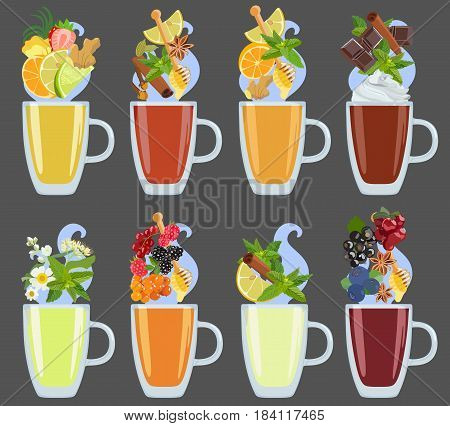 Vector color image of a cup with tea and various additives from fruits and berries, spices and herbs in a flat style on a dark background. Element for menu cafe or restaurant, for diets, vegetarianism and sports nutrition.