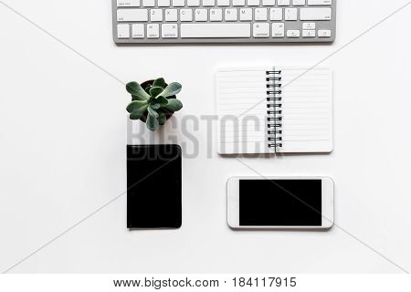 Workspace with wallet and notebook on office desk white background top view mock up