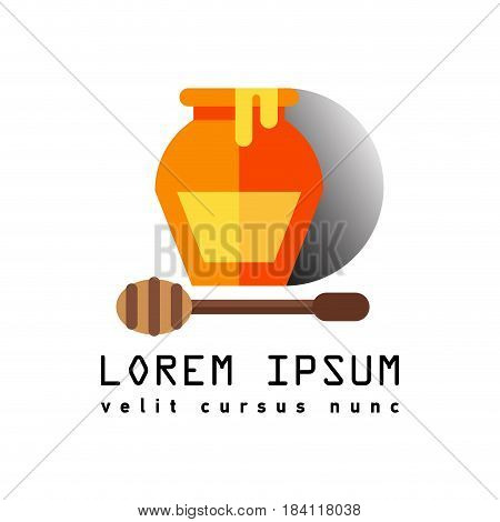 Flat line illustration of wooden drizzler dripped in honey with glass jar.