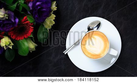 Coffee Cup With Latte Art And Flower Bouquet. Concept Of Business Event Refreshment Break