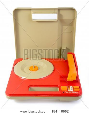 Sorel-Tracy Canada - April 30 2017 : Vintage Fisher Price Record Player portable Portable Gramophone Toy #820 from 1983. Studio shot over white background.