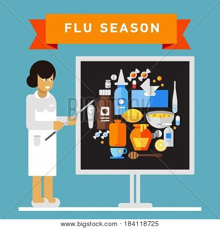 Female medical worker giving presentation on flu and cold season. Vector flat design on flu season preparation notice with pharmacist character talking about essential treatment items