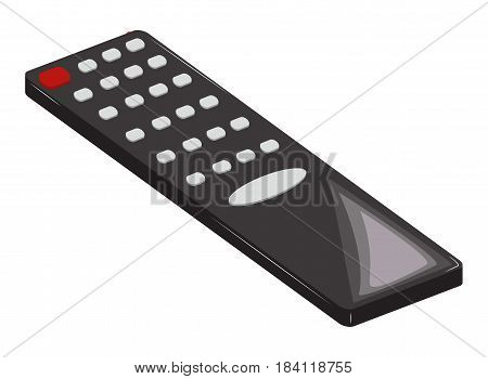 Remote control black with a red power button. Vector illustration