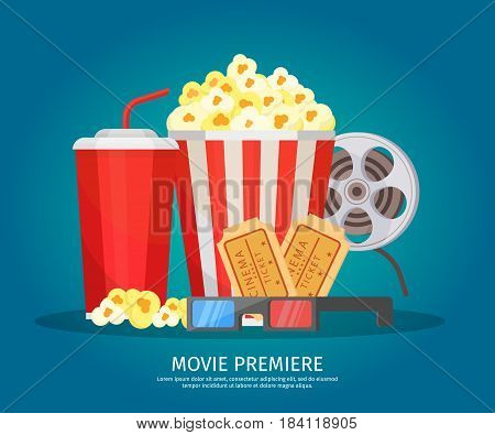 Cinema elements concept with soda drink popcorn filmstrip glasses and tickets on light background isolated vector illustration