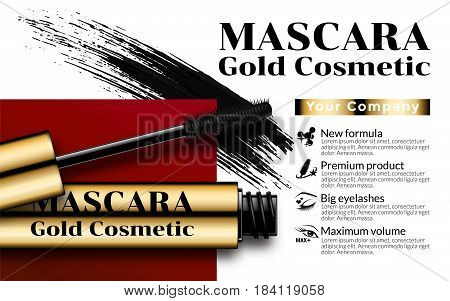 Luxury mascara ads gold package with eyelash applicator brush mascaras VIP background. Package Design Promotion Product. Cosmetics Advertising Banner Billboard Poster Catalog. 3D Vector Illustration.