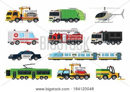 Municipal transport set with evacuator garbage police towing fire trucks ambulance car tram trolleybus sweeper helicopter isolated vector illustration