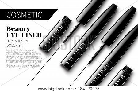 Eyeliner Package Design Premium Ads mock up Soft isolated white Background. Excellent Advertising. Cosmetic Package Design Sale Promotion New Product. 3D Vector Illustration.