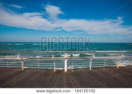 Promenade of Pesaro with blue sky, Marche, Italy