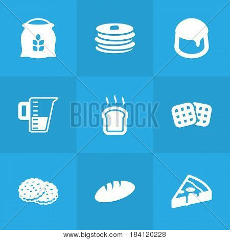 Set Of 9 Bakery Icons Set.Collection Of Shortcake, Custard, Sack And Other Elements.