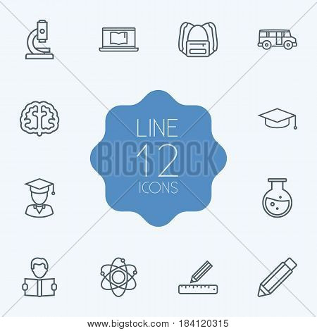 Set Of 12 Science Outline Icons Set.Collection Of Graduation Cap, Learning, Atom And Other Elements.