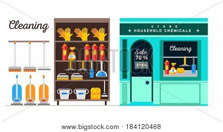 Flat illustration rack of home appliances, household chemicals and washing and cleaning. Store of housekeeper equipment. Doodle design style concept, for web banners.