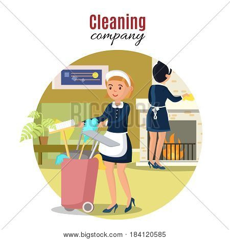 Colorful cleaning service concept with maids household equipment and tools at living room vector illustration