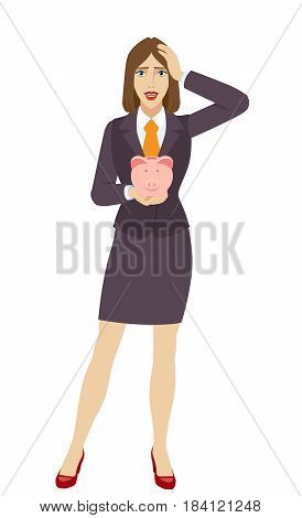 Businesswoman holding a piggy bank and grabbed his head. Full length portrait of businesswoman character in a flat style. Vector illustration.