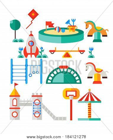 Children s playground. Teeter board, swings, sandbox, umbrella, rocket-house, castle and bench also toy horse, horizontal bar for children, net basketball.